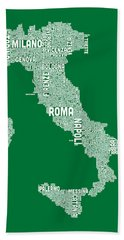 Typography Text Map Of Italy Map Beach Towel