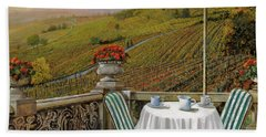 Beach Towel featuring the painting Un Caffe' Nelle Vigne by Guido Borelli