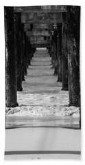 Under The Pier #2 Bw Beach Towel