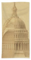United States Capitol, Section Of Dome, 1855 Beach Towel