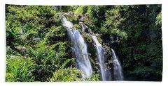 Beach Towel featuring the photograph Upper Waikani Falls by Dawn Richards