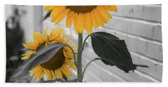 Urban Sunflower - Black And White Beach Sheet