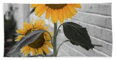 Urban Sunflower - Black And White Beach Towel