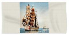 Us Coastguard Tall Ship Beach Sheet