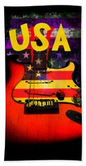 Usa Flag Guitar Purple Stars And Bars Beach Sheet