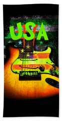 Usa Strat Guitar Music Green Theme Beach Sheet