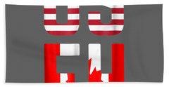Useh America Canada Flag T-shirt Funny American Canadian Tee Beach Towel