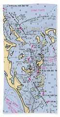 Useppa,cabbage Key,cayo Costa Nautical Chart Beach Towel