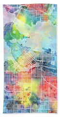 Vancouver Map Watercolor Beach Towel