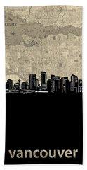 Vancouver Skyline Map Beach Towel