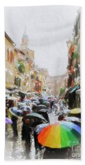 Venice In The Rain Beach Towel