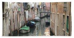 Venice Italy Canal Water Way Boats Gondolas Panoramic View Beach Sheet