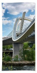 Vertical View Of The Millennium Bridge In Ourense Beach Towel