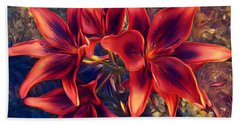 Vibrant Red Lilies Beach Towel