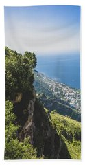 View Of Amalfi Italy From Path Of The Gods Beach Towel
