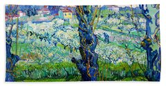 View Of Arles, Flowering Orchards - Digital Remastered Edition Beach Towel
