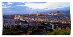 View Of Florence At Night In The Autumn. Beach Towel