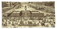 View Of Pont-neuf In 1702, Paris Beach Towel