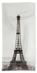 View Of The Construction Of The Eiffel Tower, Paris, 12th February And 12th March 1889 Beach Towel