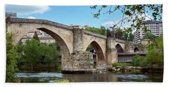 View Of The Roman Bridge And The Minho River Beach Towel