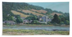 Beach Towel featuring the painting Village Of Axmouth On The River Axe by Martin Davey
