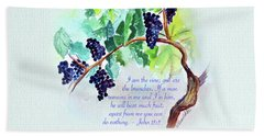 Vine And Branch With Scripture Beach Towel