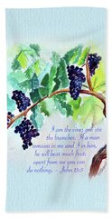 Vine And Branch With Scripture - Vertical Beach Towel