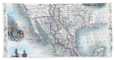 Vingage Map Of Texas, California And Mexico Beach Towel