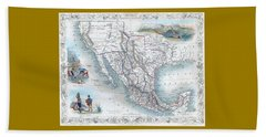 Vingage Map Of Texas, California And Mexico Beach Sheet