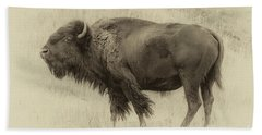 Vintage Bison I Beach Towel