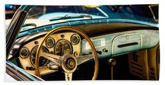 Beach Towel featuring the photograph Vintage Blue Car by Top Wallpapers