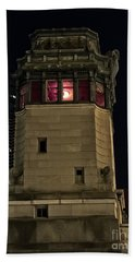 Vintage Chicago Bridge Tower At Night Beach Towel