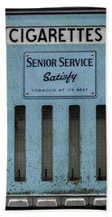 Beach Towel featuring the photograph Senior Service Vintage Cigarette Vending Machine by Scott Lyons