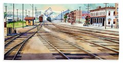 Vintage Color Columbia Rail Yards Beach Towel