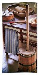 Vintage Farmhouse Butter Churn Beach Towel