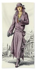 Vintage Fashion Plate Showing Female Model Dated From 1922 Beach Towel