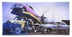 Beach Towel featuring the digital art Vintage Ford Car Carrier by David King
