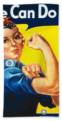 Vintage Image Of The Rosie The Riveter War Poster Beach Towel