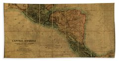 Vintage Map Of Central America 1850 Beach Towel