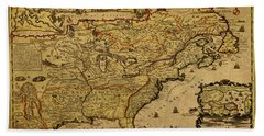 Vintage Map Of French America 1719 Beach Towel