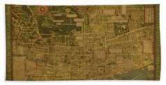 Vintage Map Of Montreal 1942 Beach Towel