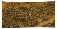 Vintage Map Of Sherbrooke Quebec Canada 1881 Beach Towel