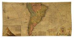 Vintage Map Of South America 1715 Beach Towel