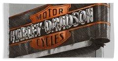 Vintage Motorcycle Shop Beach Sheet