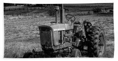 Vintage Tractor In Honeyville Bw Beach Towel