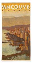 Vintage Vancouver, Bc Canada Travel Poster - Circa 1950's Beach Towel