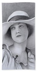 Vintage Woman In Brim Hat Beach Sheet