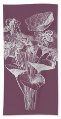 Viola Cucullate Purple Flower Beach Towel