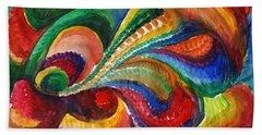 Vivid Abstract Watercolor Beach Towel