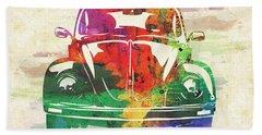 Vw Old Beetle Colorful Watercolor Beach Towel